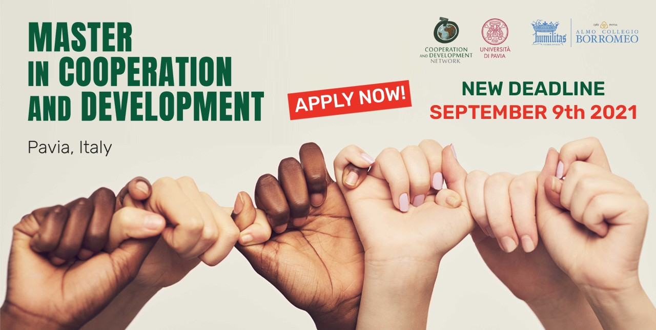 New deadline for the Master in Cooperation & Development of Pavia